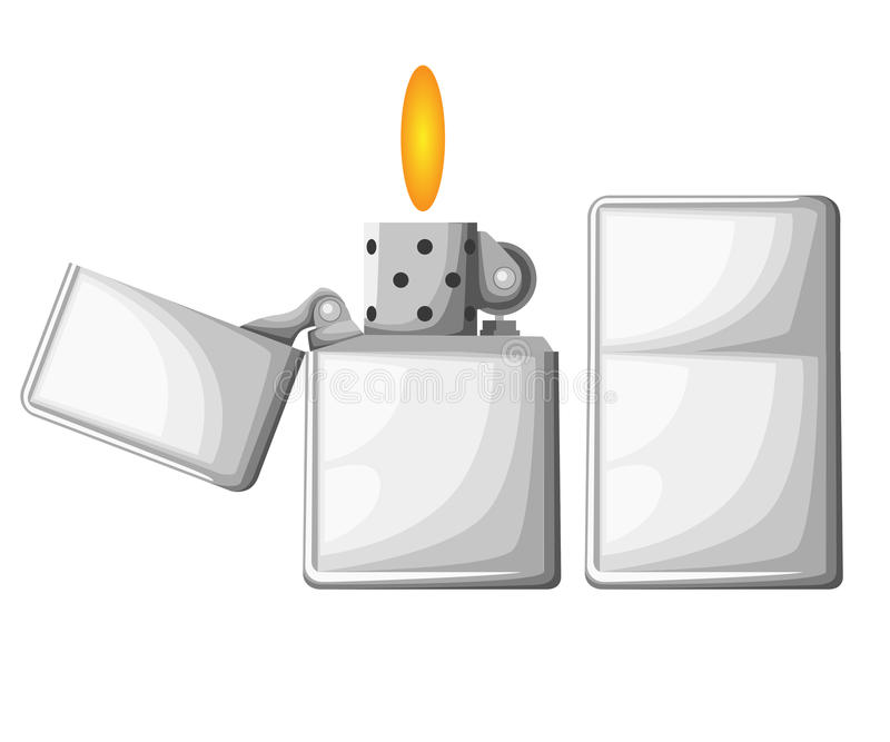 Более светлый комплект лихтера сигареты Реалистический стиль Страница вебсайта и передвижной элемент дизайна app иллюстрация штока