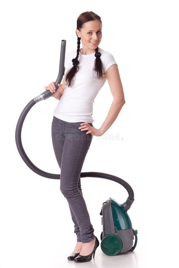 более чистые детеныши женщины вакуума стоковая фотография rf