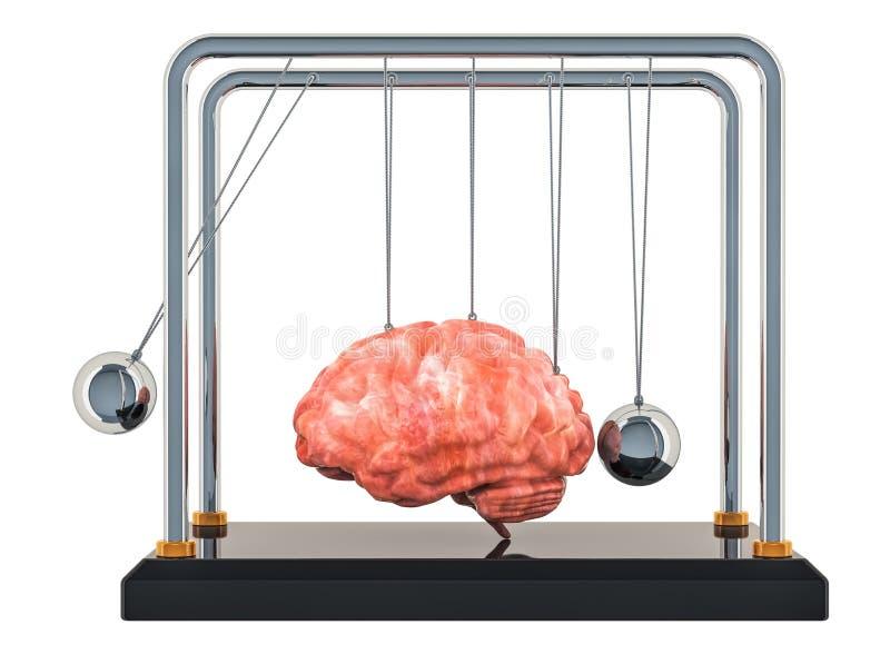 Болезнь мозга или разрушение, концепция потери памяти Вашгерд Ньютона с мозгом перевод 3d иллюстрация вектора