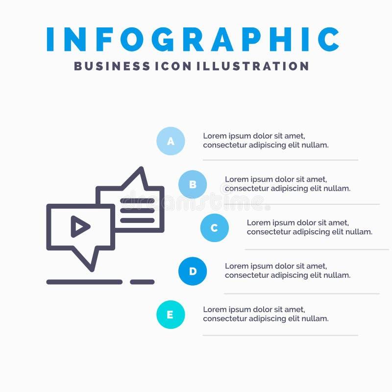 Болтовня, соединение, маркетинг, послание, линия значок речи с предпосылкой infographics представления 5 шагов бесплатная иллюстрация