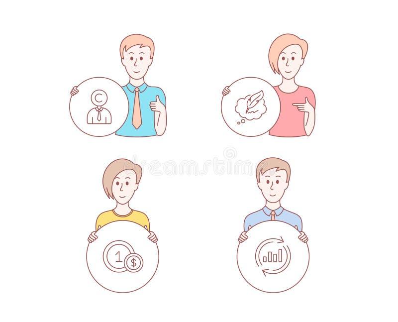 Болтовня Copyrighter, авторского права и Usd значков монеток Знак данным по обновления Персона писателя, пузырь речи, платеж нали бесплатная иллюстрация