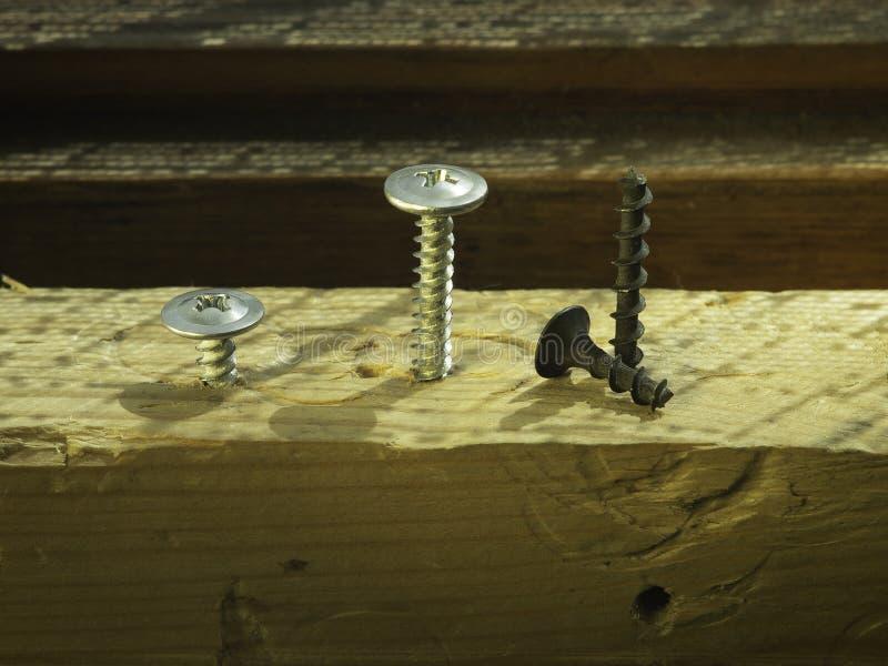 Болты и винты на деревянном стенде работы концепция DIY и новых винтов или болтов инструменты деятельности в плотничестве и домаш стоковые изображения rf