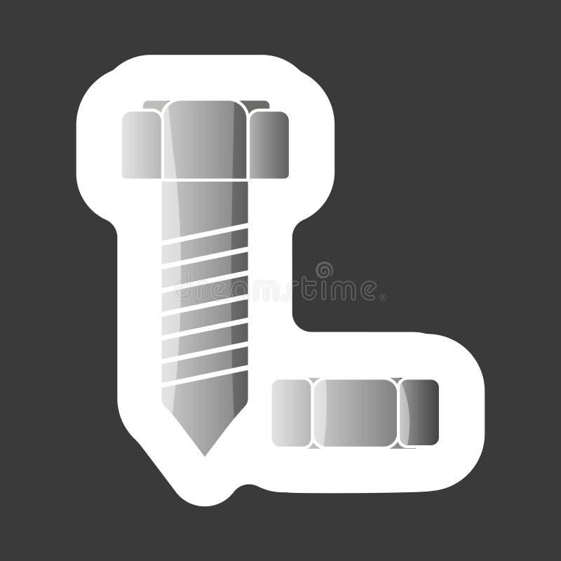 Болт и гайка изображения вектора Стикер вектора покрашенный значком Наслаивает g бесплатная иллюстрация