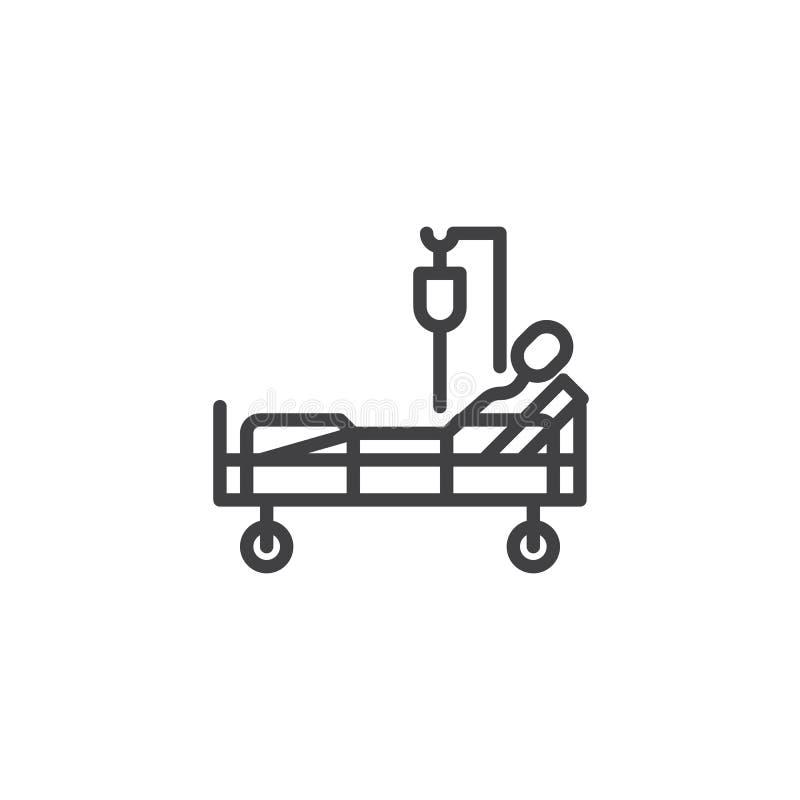 Больничная койка с терпеливой линией значком переливания крови бесплатная иллюстрация