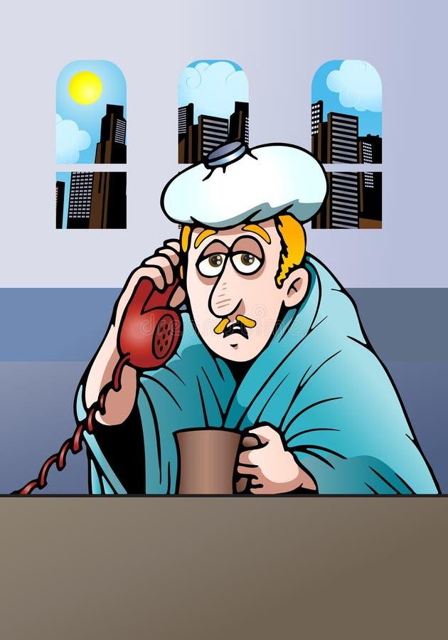 больной бизнесмена иллюстрация штока