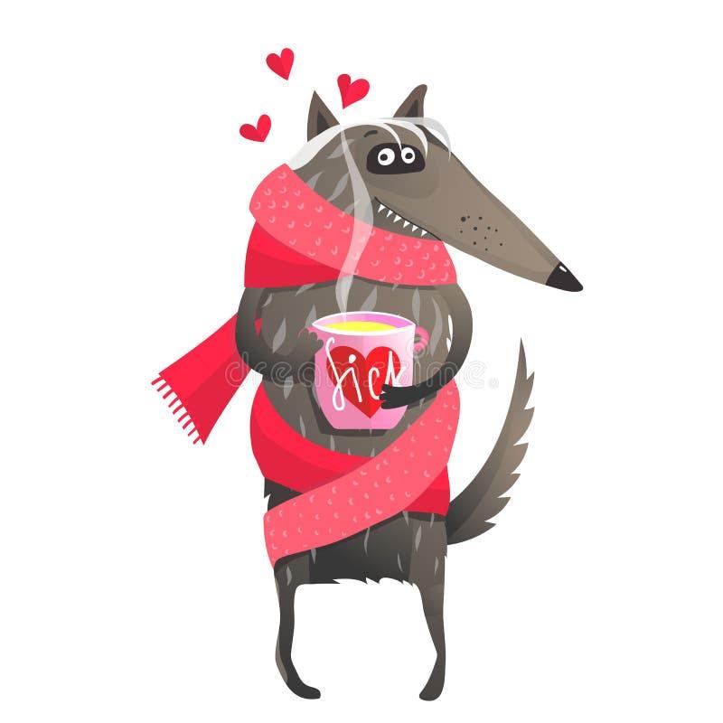Больной волка в чае влюбленности выпивая иллюстрация вектора