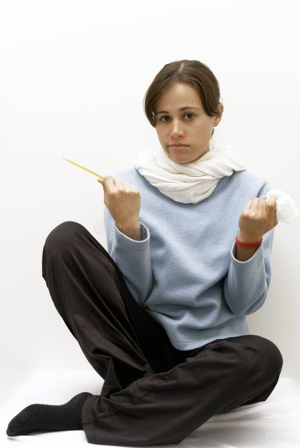больной девушки гриппа стоковое изображение rf