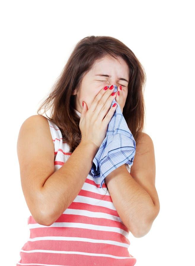 больной девушки чихая стоковое фото rf