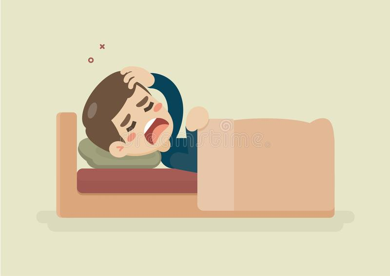 Больной молодой человек страдая от головной боли лежа в кровати, иллюстрации вектора бесплатная иллюстрация