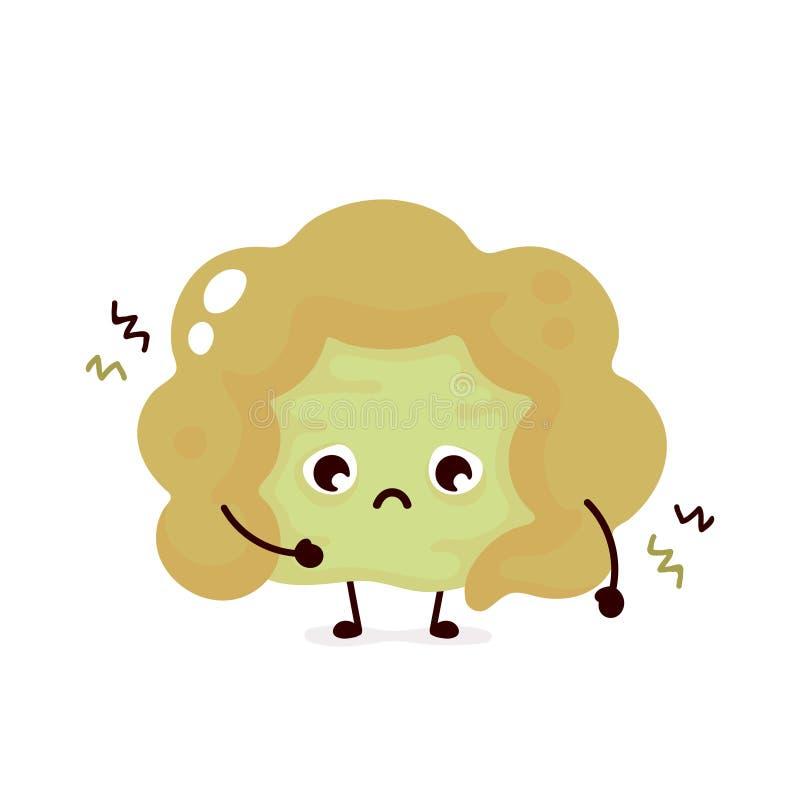 Больной нездоровый грустный кишечник r иллюстрация штока