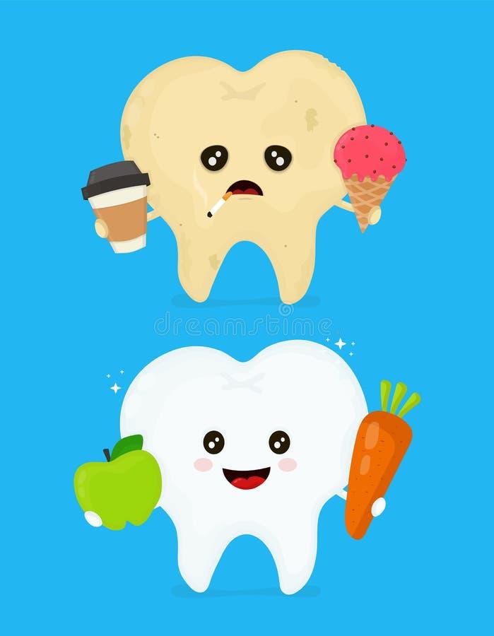 Больной пакостный нездоровый зуб с кофе, льдом иллюстрация вектора