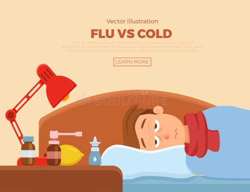Больной парень в кровати с симптомами холода, гриппа бесплатная иллюстрация