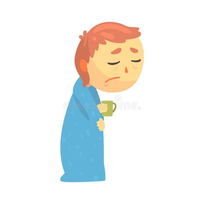 Больной характер мальчика с гриппом обернутый в одеяле держа иллюстрацию вектора шаржа чашки бесплатная иллюстрация