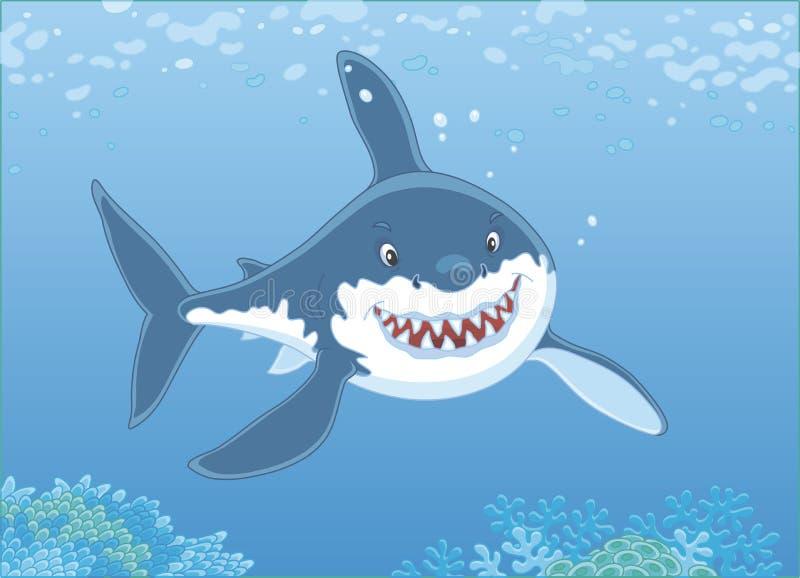 Большая белая акула над рифом иллюстрация штока
