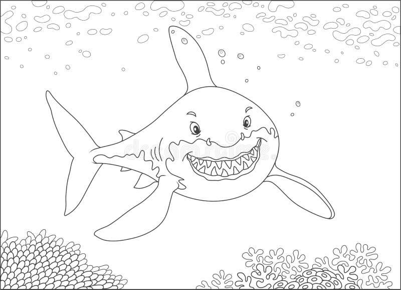 Большая белая акула над рифом иллюстрация вектора