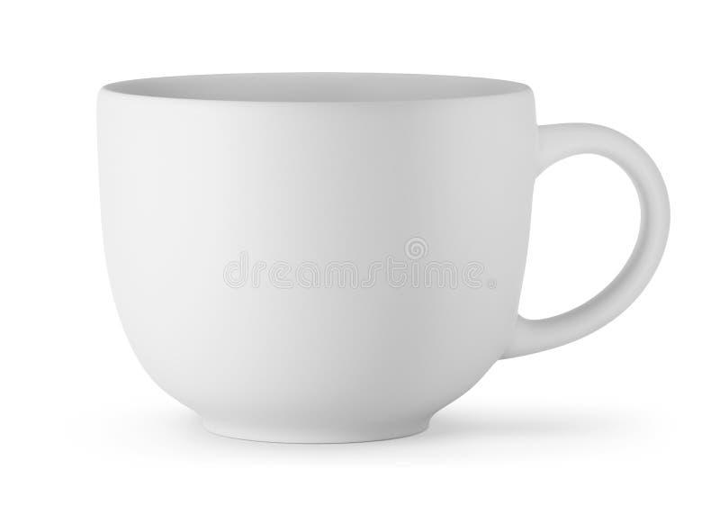 Большая белая чашка изолированная на белой предпосылке иллюстрация вектора