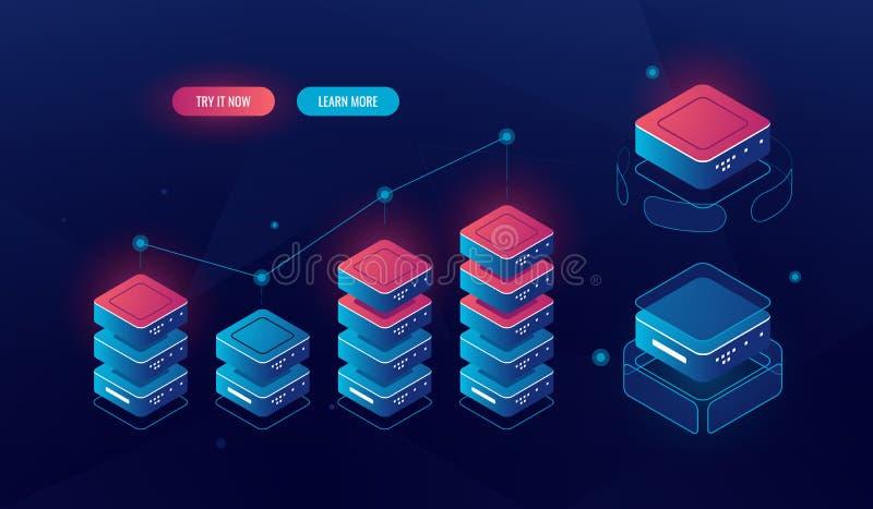 Большая введенная информачи равновеликая диаграмма диаграммы, сообщает анализ и статистику, объекты технологии, комнату сервера,  иллюстрация вектора