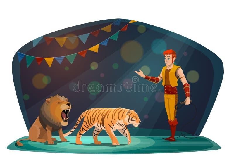 Большая верхняя арена цирка, тигр и животные льва более tamer иллюстрация вектора