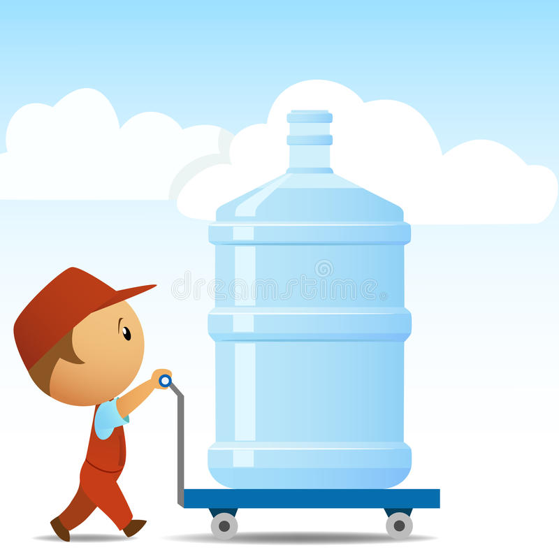 большая вода работника доставляющего покупки на дом бутылки иллюстрация штока
