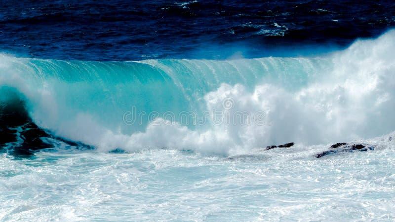 Большая волна в голубом океане стоковые изображения rf
