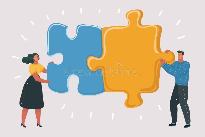Большая головоломка в руках пар бесплатная иллюстрация