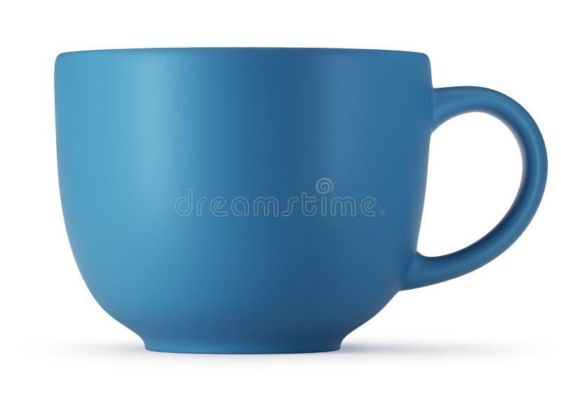 Большая голубая чашка изолированная на белой предпосылке иллюстрация вектора
