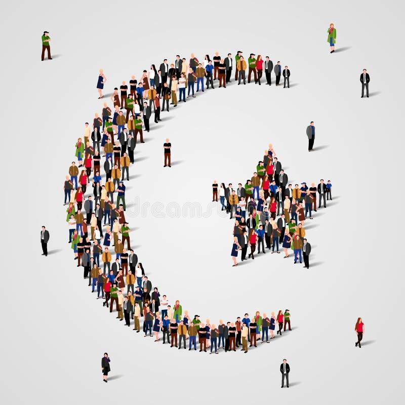 Большая группа людей в форме звезды и полумесяца Знак ислама мусульманская предпосылка Вероисповедный символ иллюстрация штока