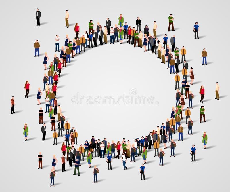 Большая группа людей в форме пузыря болтовни бесплатная иллюстрация