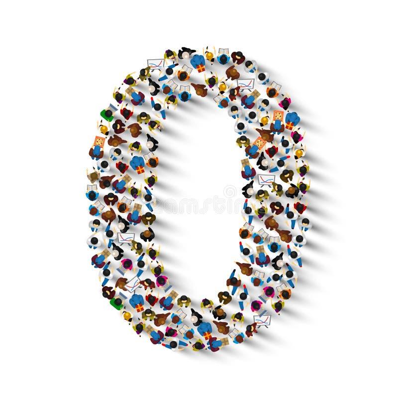 Большая группа людей в форме 0 zero иллюстрация вектора