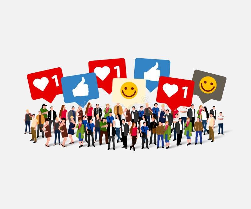 Большая группа людей с как, большой палец руки, сердце, знаки принципиальная схема цифрово произвела высокий social res сети изоб иллюстрация штока