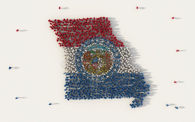 Большая группа людей формируя карту в Соединенных Штатах Америки, США флага Миссури, в социальных средствах массовой информации и бесплатная иллюстрация