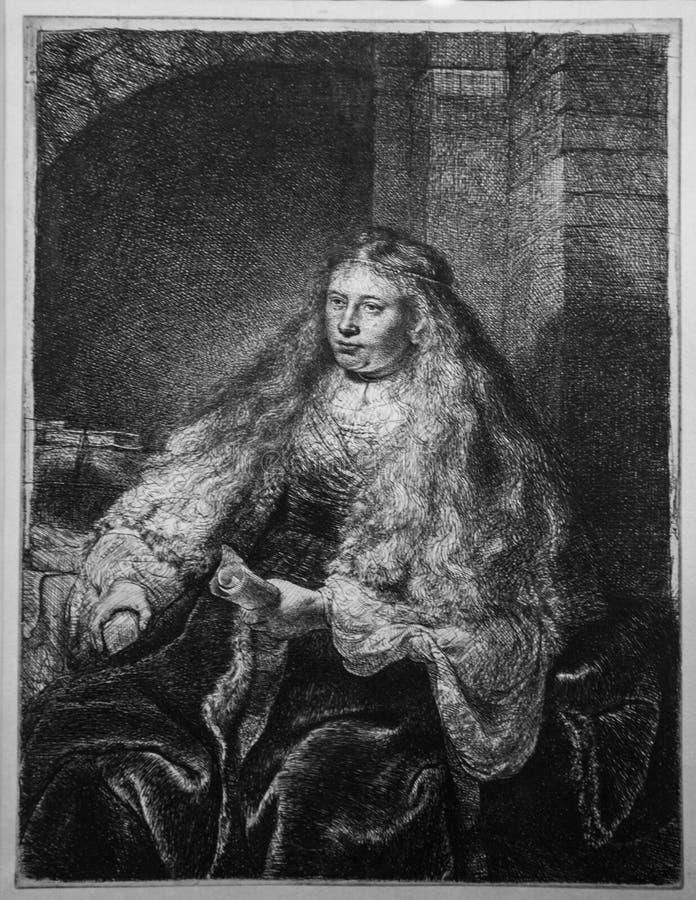 Большая еврейская невеста, Рембрандт ван Рейн стоковые изображения
