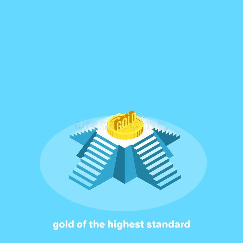 Большая золотая монета поверх пирамиды, иллюстрация вектора