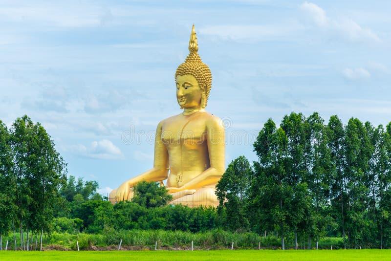 Большая золотая статуя Будды на провинции angthong виска Wat Muang стоковые изображения