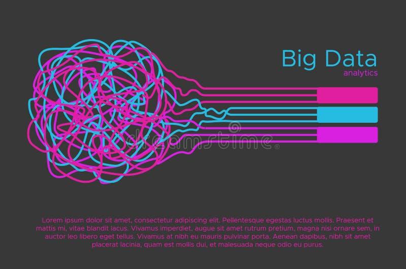 Большая иллюстрация вектора данных Алгоритм машинного обучения для фильтра информации и anaytic в плоском стиле doodle стоковые изображения