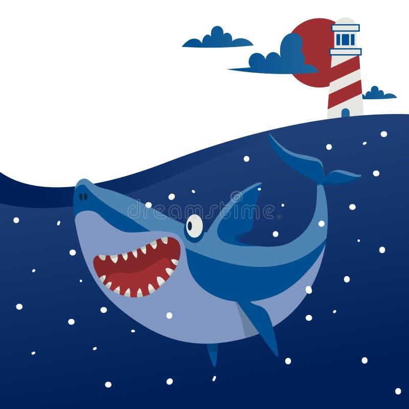 Большая иллюстрация вектора знамени акулы Океан мультфильма красивый с волнами и рыбами Подводная природа и морская живая природа иллюстрация вектора