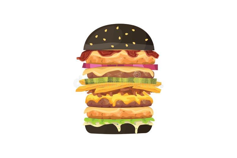 Большая иллюстрация фаст-фуда шаржа бургера Черный гамбургер иллюстрация вектора