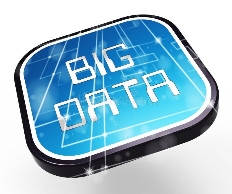 Большая иллюстрация цифровым данным по 3d логотипа данных иллюстрация штока
