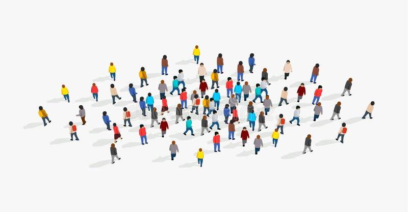 Большая и разнообразная группа людей собранная совместно в форме круга r бесплатная иллюстрация