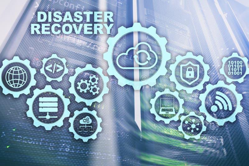 Большая концепция восстановления после стихийного бедствия данных Резервный план Предохранение потери данных на виртуальном экран иллюстрация вектора