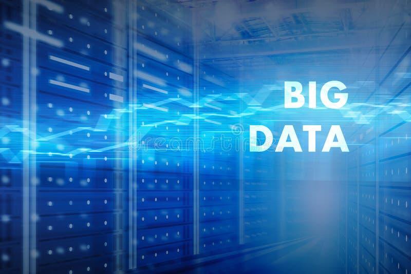 Большая концепция данных, интерьер комнаты сервера стоковое фото