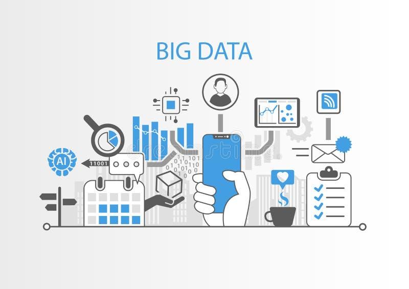 Большая концепция данных с рукой держа телефон современного шатона свободный умный бесплатная иллюстрация