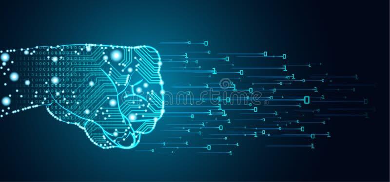 Большая концепция доминирования данных и искусственного интеллекта иллюстрация вектора