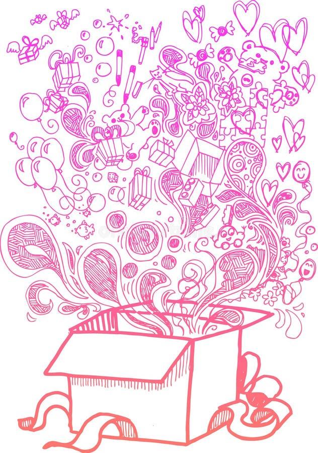 Большая коробка подарка, схематичные doodles иллюстрация штока