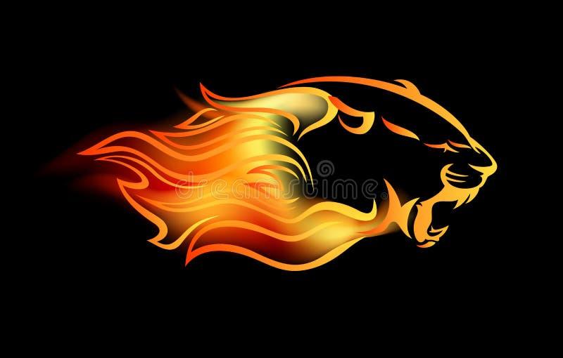 Большая кошка реветь среди вектора пламен огня иллюстрация вектора