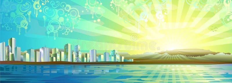 большая панорама города иллюстрация штока
