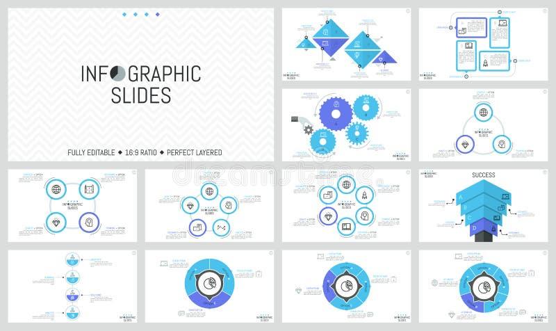 Большая пачка простых infographic шаблонов дизайна Диаграммы с круглыми, триангулярными и прямоугольными элементами, колесами шес иллюстрация вектора