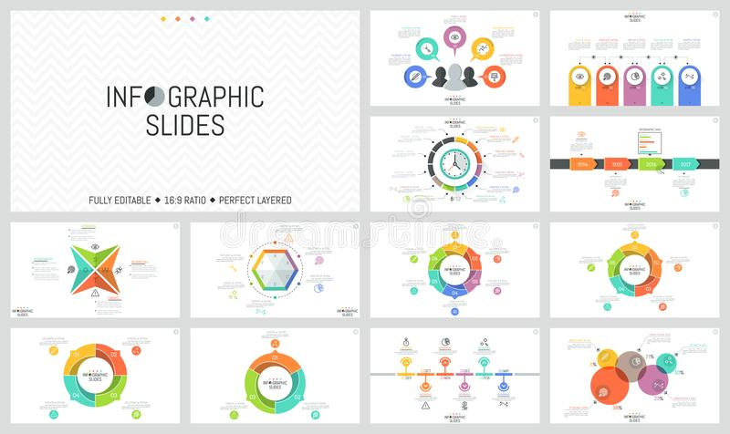 Большая пачка простых infographic шаблонов дизайна Круглые диаграммы разделили в участки, горизонтальные сроки, красочные бесплатная иллюстрация