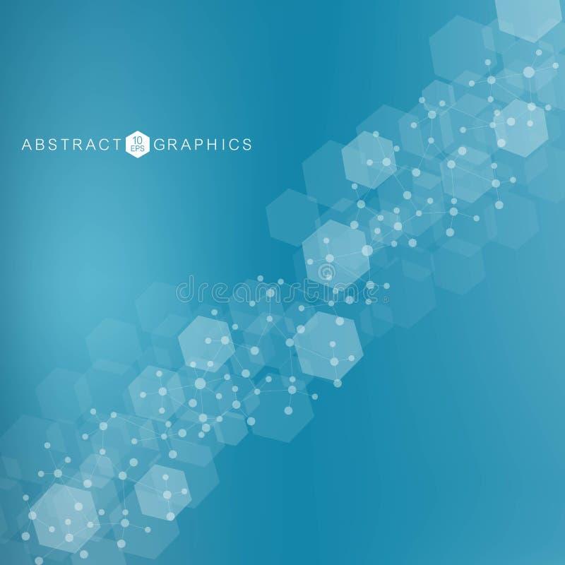 Большая предпосылка визуализирования данных Современная футуристическая виртуальная абстрактная предпосылка Картина сети науки, с иллюстрация штока