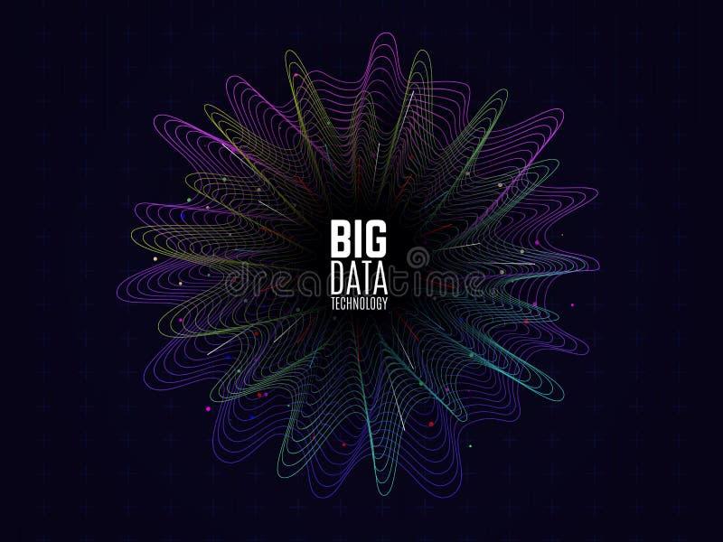 Большая принципиальная схема данных Футуристическая конструкция Визуализирование данных Графическая абстрактная предпосылка Волны иллюстрация вектора
